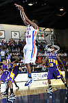 Texas-Arlington Mavericks forward Bo Ingram (1) in action against Hardin-Simmons Cowboys guard Matt Addison (1) in the game between the UTA Mavericks and the Hardin-Simmons Cowboys held at the University of Texas in Arlington's Texas Hall in Arlington, Texas. UTA leads Hardin-Simmons 45 to 25 at halftime..