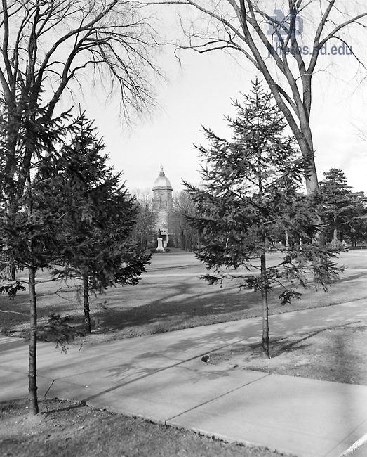 GPHR 45/0041:  Main Building exterior, c1950s..Image from the University of Notre Dame Archives.