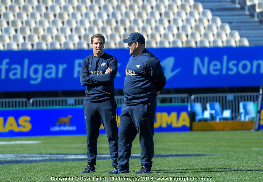 Pumas coaching staff Gonzalo Quesada and Mario Ledesma during the Rugby Championship Argentina Pumas captain's run at Trafalgar Park in Nelson, New Zealand on Friday, 7 September 2018. Photo: Dave Lintott / lintottphoto.co.nz