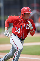 Washington Nationals Jakson Reetz (14) during a Minor League Spring Training game against the Miami Marlins on March 28, 2018 at FITTEAM Ballpark of the Palm Beaches in West Palm Beach, Florida.  (Mike Janes/Four Seam Images)