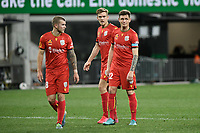 30th July 2020; Bankwest Stadium, Parramatta, New South Wales, Australia; A League Football, Adelaide United versus Perth Glory; Michael Jakobsen and Kristian Opseth of Adelaide United come forward into the Perth box for a corner to be taken