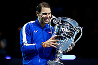 15th November 2019; 02 Arena. London, England; Nitto ATP Tennis Finals; Rafael Nadal (Spain) holds the ATP world number 1 trophy - Editorial Use