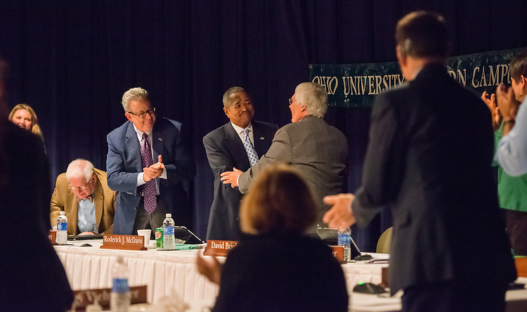 The Ohio University Board of Trustees commemorate Dr. McDavis' tenth year as President of Ohio University during a Board of Trustee meeting at Eastern Campus on Friday, June 27. Photo by Ben Siegel/ Ohio University