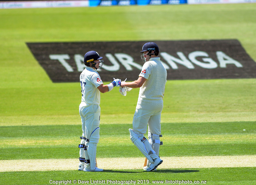 England openers Rory Burns (left) and Dom Sibley during day one of the international cricket 1st test match between NZ Black Caps and England at Bay Oval in Mount Maunganui, New Zealand on Thursday, 21 November 2019. Photo: Dave Lintott / lintottphoto.co.nz
