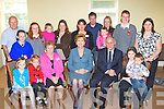 President Mary McAleese with locals during her visit to the Killorglin Family resource on Friday front row l-r Alannah, Ella and Maureen Gamble, President Mary McAleese, Dr Martin McAleese, Dylan and Ncole Gamble. Back row: Meagan, John Larissa, Aisling and Kerry Gamble, Anne Dwyer, Noleen, Stephen Gamble, aaron, Karen Dwyer, Aaron and Liz Gamble......