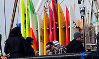Half Moon Bay, California - January 24, 2014: 2014 Maverick's Invitational Big wave equipment.