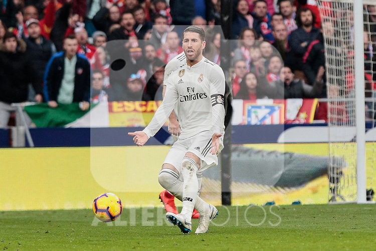 Real Madrid's Sergio Ramos during La Liga match between Atletico de Madrid and Real Madrid at Wanda Metropolitano Stadium in Madrid, Spain. February 09, 2019. (ALTERPHOTOS/A. Perez Meca)