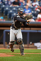 New Britain Rock Cats catcher Tom Murphy (9) throws to first during a game against the Akron RubberDucks on May 21, 2015 at Canal Park in Akron, Ohio.  Akron defeated New Britain 4-2.  (Mike Janes/Four Seam Images)