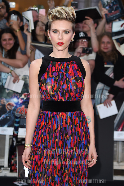"Scarlett Johansson Johnson arrives for the ""Avengers: Age of Ultron"" European premiere at the Vue cinema, Westfield London. 21/04/2015 Picture by: Steve Vas / Featureflash"