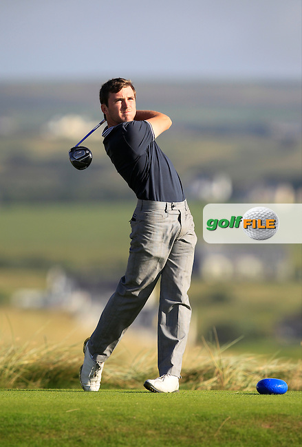 Chris Carroll (Shandon Park) on the 2nd tee during the South of Ireland Amateur Open Championship First Round at Lahinch Golf Club  27th July 2013 <br /> Picture:  Thos Caffrey / www.golffile.ie