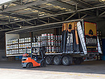 Forklift loading barrels onto trailer, Showerings cider mill, Shepton Mallet, Somerset, England, UK