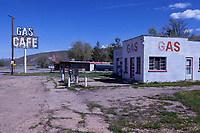 Frank's Echo Service Station and the main road through town in Echo, Utah. The city of Echo was once a junction point on the Lincoln Highway for travelers heading west to Salt Lake City or Ogden, Utah.