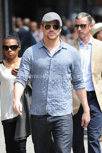 WWW.ACEPIXS.COM . . . . . <br /> June 25, 2013...New York City....Channing Tatum arrives to tape an appearance on the Late Show with David Letterman on May 2, 2012  in New York City....Please byline: KRISTIN CALLAHAN - ACEPIXS.COM.. . . . . . ..Ace Pictures, Inc: ..tel: (212) 243 8787 or (646) 769 0430..e-mail: info@acepixs.com..web: http://www.acepixs.com