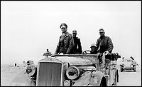 BNPS.co.uk (01202 558833)Pic:    Pen&Sword/BNPS<br /> <br /> General Rommel in a vehicle leading his men from the front on the battlefield.<br /> <br /> Fascinating rare photos of Rommel's feared Afrika Korps which terrorised the Allies in the desert have come to light in a new book.<br /> <br /> Under the direction of legendary German commander Field Marshal Erwin Rommel, who was nicknamed the Desert Fox, the corps were recognised as a superb fighting machine.<br /> <br /> They achieved their greatest triumph when they outmanoeuvred the British at the Battle of Gazala in June 1942 which led to them capturing Tobruk in Libya.<br /> <br /> But they were ultimately defeated in the iconic Battle of Alamein when they succumbed to an offensive led by Field Marshal Bernard Montgomery.