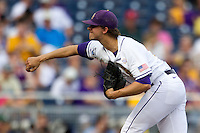 LSU Tiger pitcher Aaron Nola (10) delivers a pitch to the plate during Game 4 of the 2013 Men's College World Series against the UCLA Bruins on June 16, 2013 at TD Ameritrade Park in Omaha, Nebraska. UCLA defeated LSU 2-1. (Andrew Woolley/Four Seam Images)