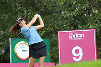 Georgia Hall (ENG) tees off the 9th tee during Thursday's Round 1 of The Evian Championship 2018, held at the Evian Resort Golf Club, Evian-les-Bains, France. 13th September 2018.<br /> Picture: Eoin Clarke | Golffile<br /> <br /> <br /> All photos usage must carry mandatory copyright credit (&copy; Golffile | Eoin Clarke)