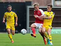 Fleetwood Town's Kyle Dempsey battles with Oxford United's Josh Ruffels<br /> <br /> Photographer David Shipman/CameraSport<br /> <br /> The EFL Sky Bet League One - Oxford United v Fleetwood Town - Saturday August 11th 2018 - Kassam Stadium - Oxford<br /> <br /> World Copyright &copy; 2018 CameraSport. All rights reserved. 43 Linden Ave. Countesthorpe. Leicester. England. LE8 5PG - Tel: +44 (0) 116 277 4147 - admin@camerasport.com - www.camerasport.com