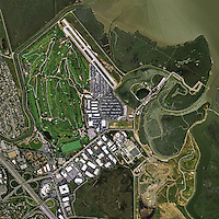 aerial photograph Palo Alto airport and golf course, California
