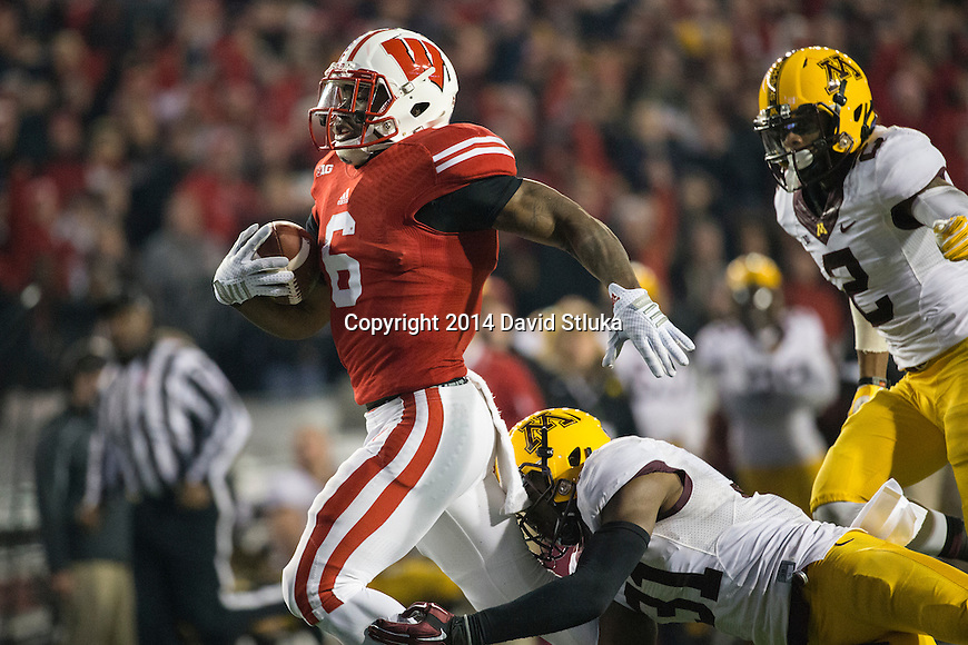 Wisconsin Badgers running back Corey Clement (6) carries the ball during an NCAA Big Ten Conference football game against the Minnesota Golden Gophers Saturday, November 29, 2014, in Madison, Wis. The Badgers won 34-24. (Photo by David Stluka)
