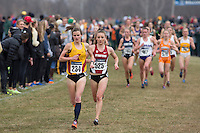 Stanford's Elise Cranny (525) trails Iowa State's Katy Moen (234) during the NCAA Cross Country Championships in Terre Haute, Ind. on Saturday, Nov. 22, 2014. (James Brosher, Special to the Denver Post)
