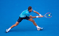 JUAN MARTIN DEL POTRO (ARG) against  ROGER FEDERER (SUI) in the Quarter Finals of the Men's Singles. Roger Federer beat Juan Martin Del Potro 6-4 6-3 6-2  ..24/01/2012, 24th January 2012, 24.01.2012 - Day 9..The Australian Open, Melbourne Park, Melbourne,Victoria, Australia.@AMN IMAGES, Frey, Advantage Media Network, 30, Cleveland Street, London, W1T 4JD .Tel - +44 208 947 0100..email - mfrey@advantagemedianet.com..www.amnimages.photoshelter.com.