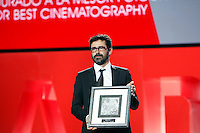 Alex Catalan recives the prize: 'Best Photography' by the film: 'La Isla Minima' during the closing ceremony of 62st San Sebastian Film Festival in San Sebastian, Spain. September 27, 2014. (ALTERPHOTOS/Caro Marin) /NortePHOTO.com /nortephoto.com