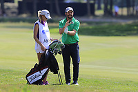 Kate and Thomas Aiken (RSA) on the 18th hole during Saturday's Round 3 of the Porsche European Open 2018 held at Green Eagle Golf Courses, Hamburg Germany. 28th July 2018.<br /> Picture: Eoin Clarke | Golffile<br /> <br /> <br /> All photos usage must carry mandatory copyright credit (&copy; Golffile | Eoin Clarke)