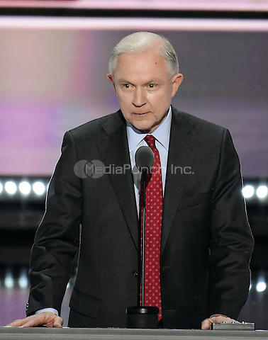 United States Senator Jeff Sessions (Republican of Alabama) places the name of Donald Trump into nomination before the delegates of the 2016 Republican National Convention held at the Quicken Loans Arena in Cleveland, Ohio on Tuesday, July 19, 2016.<br /> Credit: Ron Sachs / CNP/MediaPunch<br /> (RESTRICTION: NO New York or New Jersey Newspapers or newspapers within a 75 mile radius of New York City)