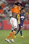 25 July 2007:  Joseph Ngwenya of the Dynamo hides his face after missing a goal attempt.  Club America was defeated by the Houston Dynamo 0-1 at Robertson Stadium in Houston, Texas, in a first round SuperLiga 2007 match.