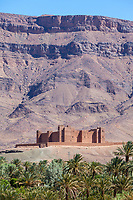 Draa River Valley Scene, Morocco.  Ksar (Kasbah) Tamnougalt, near Agdz.