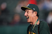 OAKLAND, CA - JULY 2:  Oakland Athletics team photographer Michael Zagaris laughs on the field before the game between the Minnesota Twins and Oakland Athletics at the Oakland Coliseum on Tuesday, July 2, 2019 in Oakland, California. (Photo by Brad Mangin)