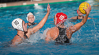 Stanford, CA -- May 9, 2015: Stanford competes against USC in a NCAA Women's Water Polo semifinal game at Avery Aquatic Center.  Stanford defeated USC 9-8.