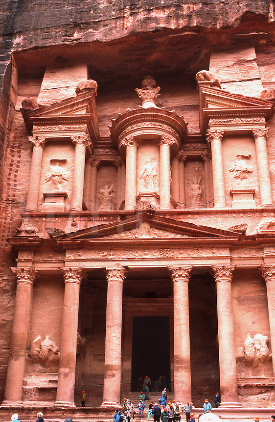 The facade of the Treasury building in the Nabatean city of Petra, Jordan