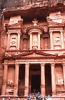 The facade of the Treasury building in the Nabatean city of Petra, Jordan