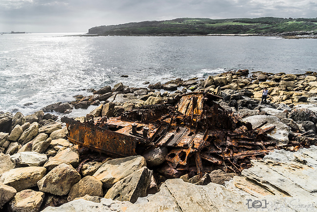 The remains of the SS Minmi steamer that struck at Cape Banks, Botany Bay in 1937 (Kamay Botany Bay National Park) La Perouse, Sydney, NSW, Australia.