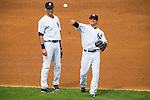 (L-R) Derek Jeter, Brian Roberts (Yankees),<br /> FEBRUARY 27, 2014 - MLB :<br /> Derek Jeter and Brian Roberts of the New York Yankees during a spring training baseball game against the Pittsburgh Pirates at George M. Steinbrenner Field in Tampa, Florida, United States. (Photo by Thomas Anderson/AFLO) (JAPANESE NEWSPAPER OUT)