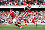 Hector Bellerin of Arsenal celebrates scoring the opening goa with Gabriel of Arsenal during the English Premier League match at the White Hart Lane Stadium, London. Picture date: May 21st 2017.Pic credit should read: Charlie Forgham-Bailey/Sportimage