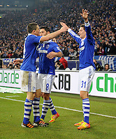 FUSSBALL   1. BUNDESLIGA   SAISON 2011/2012   18. SPIELTAG FC Schalke 04 - VfB Stuttgart            21.01.2012 Kyriakos Papadopoulos, Ciprian Marica und Julian Draxler (v.l., alle FC Schalke 04) jubeln nach dem 3:0