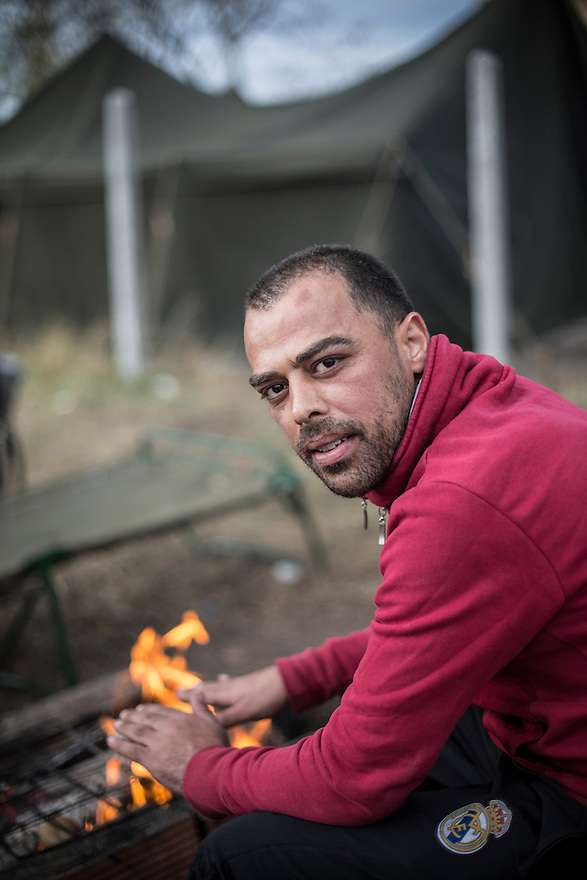 Gohdars Yousef, a Kurdish Syrian, at Harmanli, a refugee camp near the Turkish border. He is now living in Hanover, Germany, where he has received asylum and is studying German.