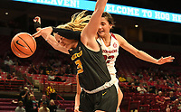 NWA Democrat-Gazette/J.T. WAMPLER Arkansas' Bailey Zimmerman reaches over Missouri's Sophie Cunningham for a rebound Monday Feb. 12, 2018 at Bud Walton Arena in Fayetteville. Arkansas lost 84-58.