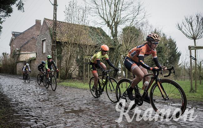 Amy Pieters (NED/Boels Dolmans) leading the way over the Chemin de Wihéries cobble section (Honelles)<br /> <br /> (women's race<br /> GP Le Samyn 2017