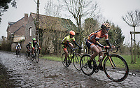 Amy Pieters (NED/Boels Dolmans) leading the way over the Chemin de Wih&eacute;ries cobble section (Honelles)<br /> <br /> (women's race<br /> GP Le Samyn 2017