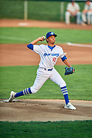 Ogden Raptors starting pitcher Edwin Uceta (15) delivers a pitch to the plate against the Grand Junction Rockies at Lindquist Field on September 6, 2017 in Ogden, Utah. Ogden defeated Grand Junction 11-7. (Stephen Smith/Four Seam Images)