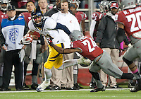 October 13th, 2012: California's Keenan Allen tries to avoid a tackle by Washington State's Daniel Simmons  during a game at Martin Stadium in Pullman, Wa    California defeated Washington State 31 - 17