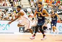 Spain's basketball player Ricky Rubio and Angola's basketball player Carlos Morais during the first match of the preparation for the Rio Olympic Game at Coliseum Burgos. July 12, 2016. (ALTERPHOTOS/BorjaB.Hojas)