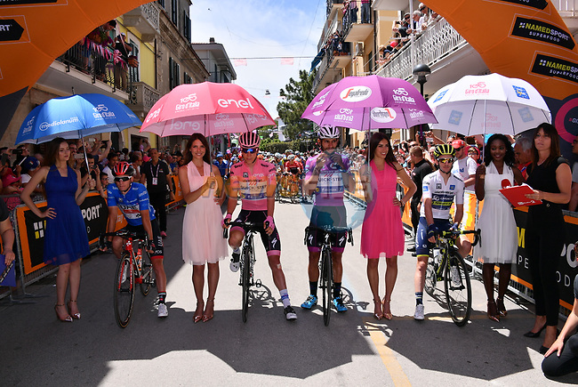 The leaders jerseys lined up before the start of Stage 9 of the 100th edition of the Giro d'Italia 2017, running 149km from Montenero di Bisaccia to Blockhaus, Italy. 14th May 2017.<br /> Picture: LaPresse/Gian Mattia D'Alberto   Cyclefile<br /> <br /> <br /> All photos usage must carry mandatory copyright credit (&copy; Cyclefile   LaPresse/Gian Mattia D'Alberto)