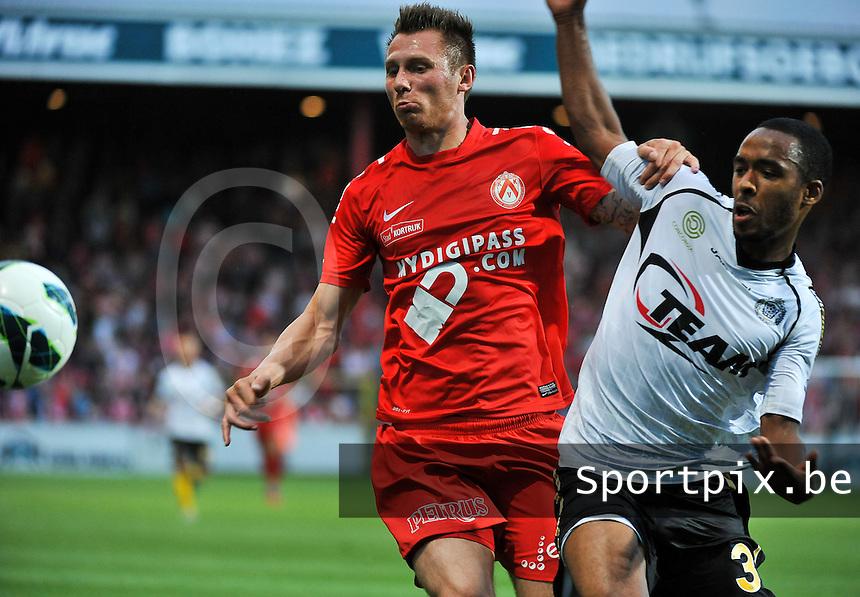 KV Kortrijk - Sporting Lokeren : duel tussen Denis Odoi (3) en Teddy Chevalier (links)<br /> foto VDB / Bart Vandenbroucke