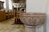 Taufstein aus Gotland in der romanischen Peders Kirke 12.Jh. bei Pedersker auf der Insel Bornholm, D&auml;nemark, Europa<br /> baptismal font from Gotland in Peders Kirke (12.c.) near Pedersker, Isle of Bornholm Denmark