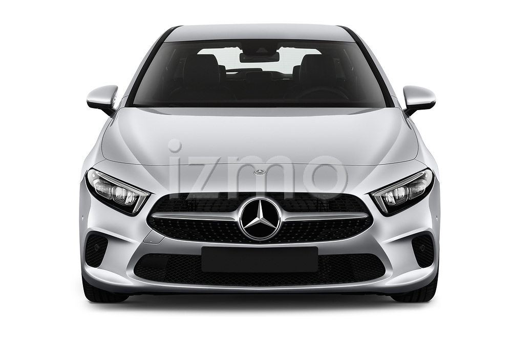Car photography straight front view of a 2019 Mercedes Benz A Class Progressive 5 Door Hatchback