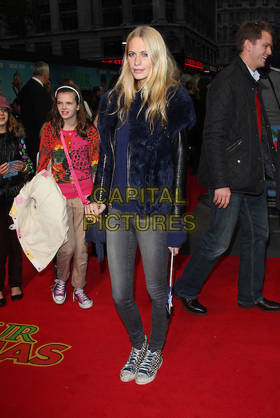 Poppy Delevigne.UK Premiere of 'Arthur Christmas' at the Empire, Leicester Square, London, England..November 6th 2011.full length black navy blue fur jacket jeans denim leather .CAP/ROS.©Steve Ross/Capital Pictures